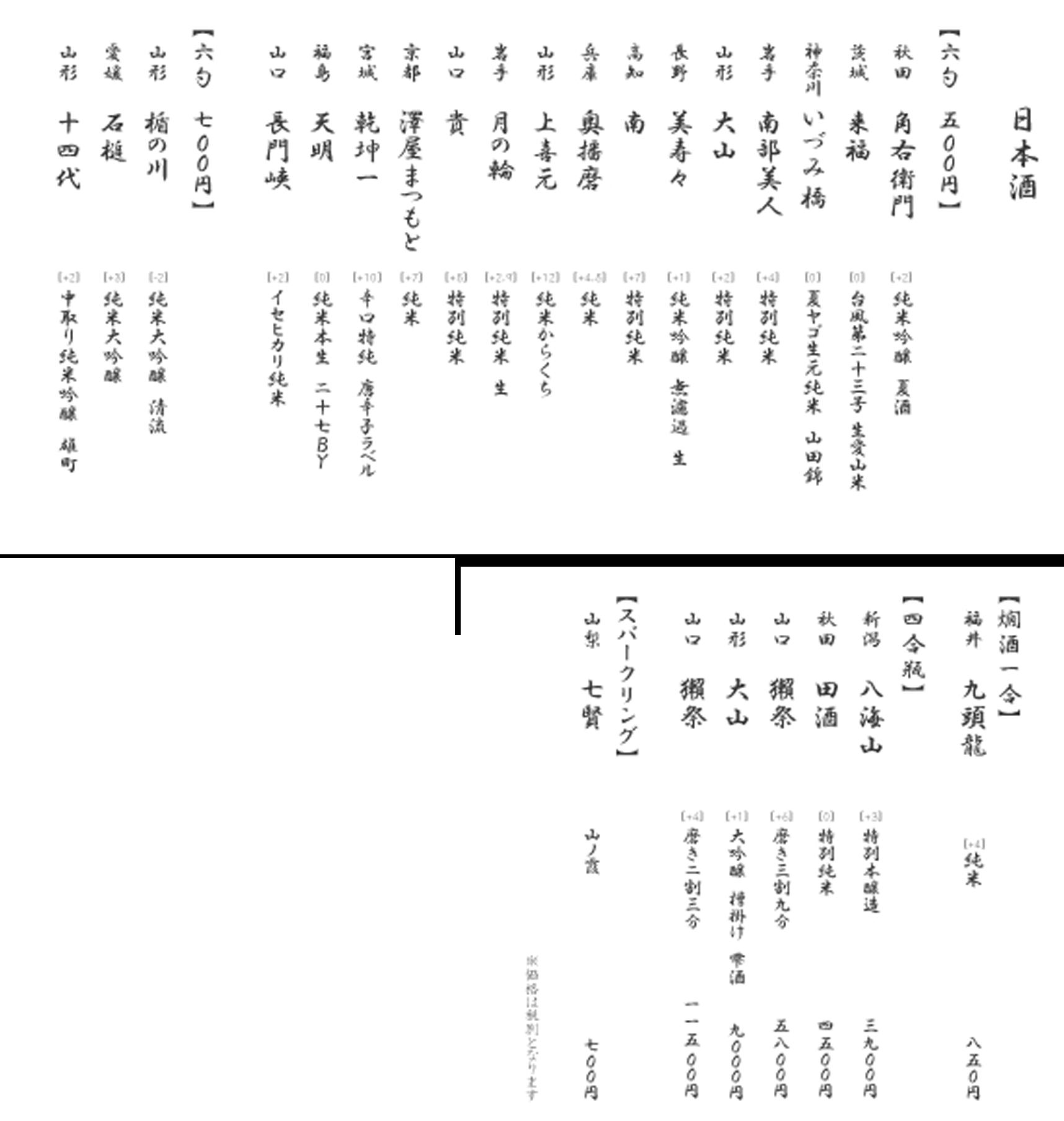 神田店 日本酒メニュー